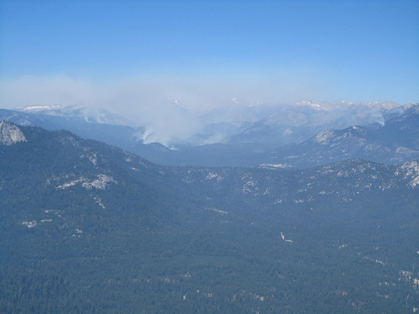 The Lion Fire, as seen from the Needles Fire Lookout.