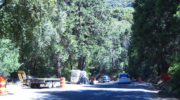 Vehicles wind through a construction zone in Sequoia & Kings National Park in 2007