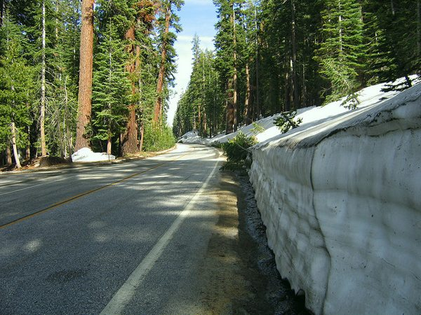Snow along Tioga Road in Yosemite National Park in a photo from 2006