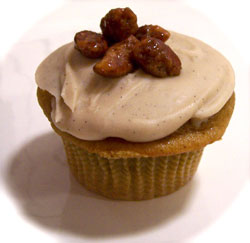 pumpkin cupcake with brown butter frosting
