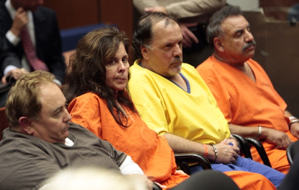 Robert Rizzo,  Angela Spaccia, Victor Bello and Oscar Hernandez attend a bail reduction hearing on September 22, 2010 | AL SEIB/AFP/Getty Images