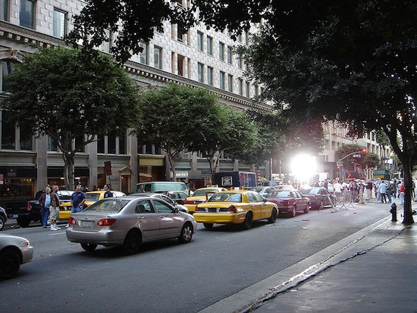 Grand Avenue in downtown Los Angeles used as a backdrop for a New York City scene