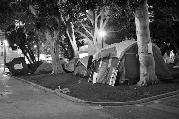Hundreds of Occupy LA members are camping outside Los Angeles City Hall
