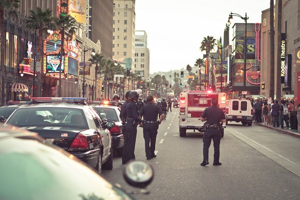 A flash mob on Hollywood Boulevard occurred after a tweet from a DJ