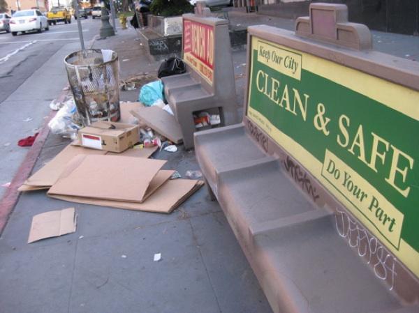 A Norman Bus Bench on Wilshire Blvd. in Westlake, as seen in 2009 | Photo by Matt Fleischer