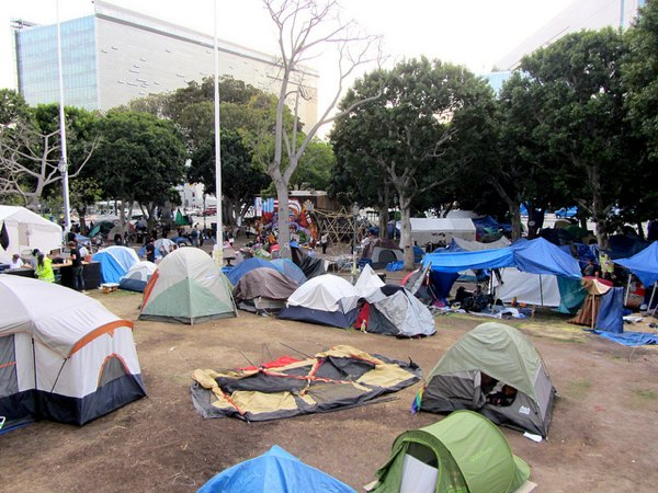 The Occupy L.A. campsite at City Hall
