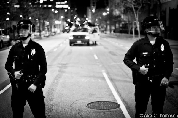 Los Angeles Police officers on Monday morning | Photo by Alex Thompson