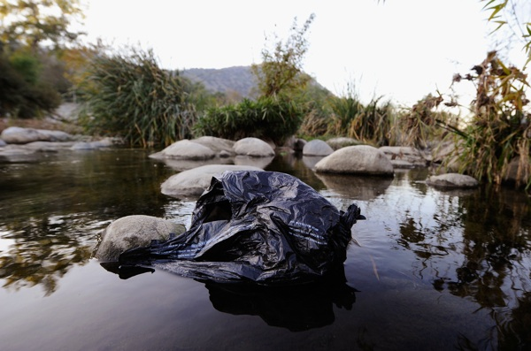 A plastic grocery bag is seen in the Los Angeles River on November 17, 2010 | Photo by Kevork Djansezian/Getty Images