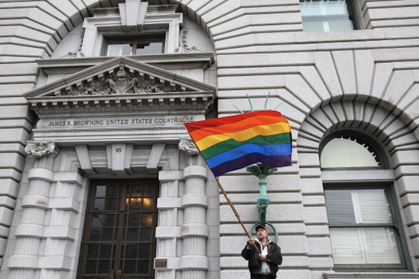Bob Sodervick demonstrates outside of the Ninth U.S. Circuit Court of Appeals on February 7 in San Francisco before a three-judge panel made its ruling on Proposition 8 |Photo: Justin Sullivan/Getty Images