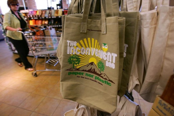 Reusable Grocery Bags Made From Neither Paper Nor Plastic Sold At A Whole Foods Market In