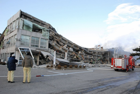 A factory building has collapsed in Sukagawa city | FUKUSHIMA MINPO/AFP/Getty Images