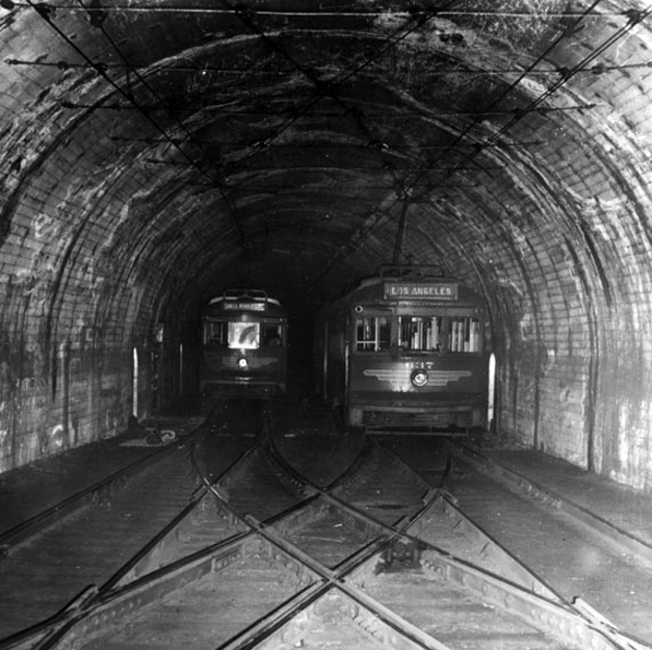 Pacific Electric cars in the subway underneath Bunker Hill. Courtesy of the Los Angeles Public Library Photograph Collection.