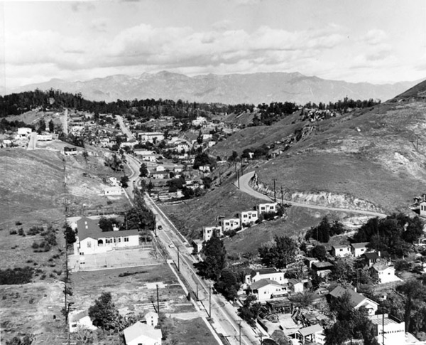 1951 view of the community of Chavez Ravine. Courtesy of the Photo Collection, Los Angeles Public Library.