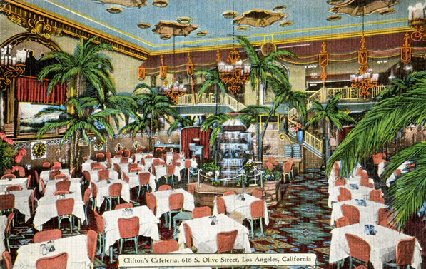 Interior of the Clifton's Pacific Seas Cafeteria, which was closed in 1960. Courtesy of the Los Angeles Public Library Photograph Collection.