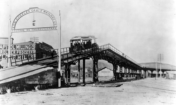 The Los Angeles Cable Railway's Downey Street viaduct between central Los Angeles and East Los Angeles. Courtesy of the Los Angeles Public Library Photograph Collection.