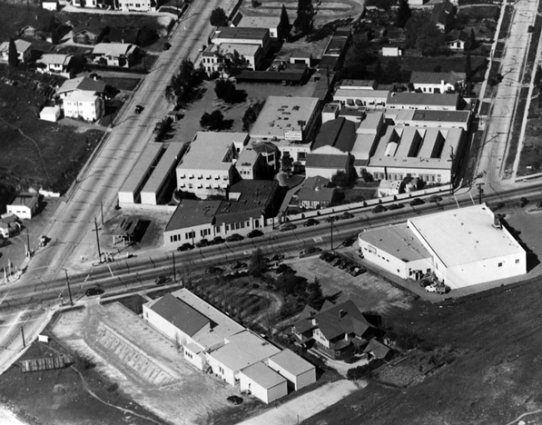 1936 aerial view of the Disney Studios on Hyperion Avenue in Silver Lake. Today, the site is home to a Gelson's supermarket. Courtesy of the Los Angeles Public Library Photo Collection.