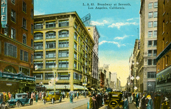 Postcard depicting the intersection, circa 1925. Courtesy of the Photo Collection, Los Angeles Public Library.