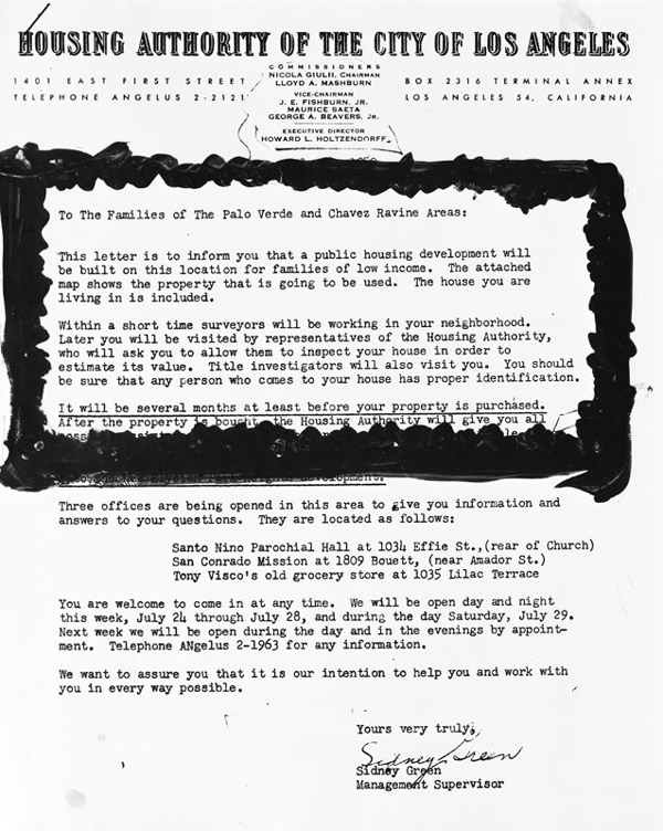 The city housing authority sent this letters to residents of Chavez Ravine, informing them that they would soon be displaced. Courtesy of the Herald-Examiner Collection, Los Angeles Public Library.