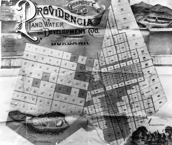Providencia Land and Water Development Company collage showing plans for the town of Burbank, circa 1886-1887. Courtesy of the Los Angeles Public Library Photograph Collection.