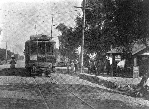 The first electric streetcar arrived in Burbank in 1911. Courtesy of the Los Angeles Public Library Photograph Collection.