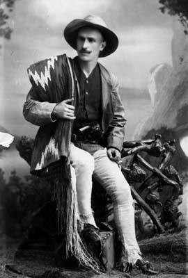 Charles Fletcher Lummis wearing his frontier garb in 1884. Courtesy Security Pacific National Bank Collection/Los Angeles Public Library.