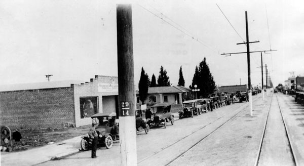 The San Fernando Valley community of Canoga Park began as the town of Owensmouth, shown here along the town's main street, Sherman Way, circa 1920. Courtesy of the Photo Collection, Los Angeles Public Library.