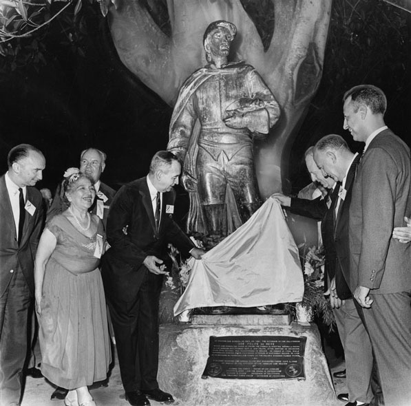 Los Angeles civic leaders celebrate the city's September 4 birthday in 1963 next to a statue of Felipe de Neve, the colonial governor who founded the original pueblo. Courtesy of the Herald-Examiner Collection, Los Angeles Public Library.