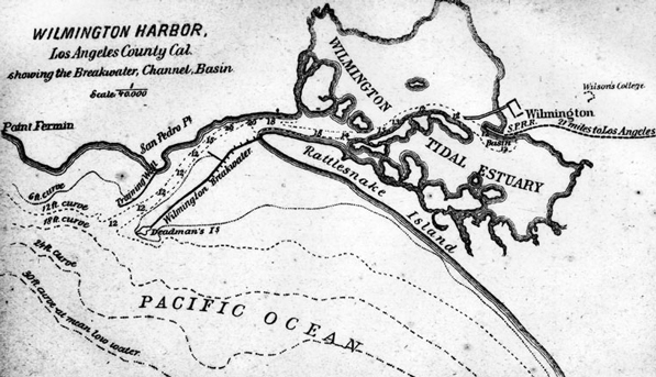 Map of the San Pedro and Wilmington harbors, circa 1880. Courtesy of the Los Angeles Public Library Photograph Collection.