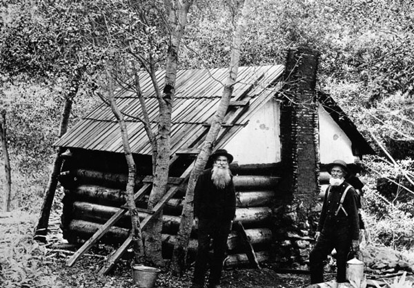 Abolitionist John Brown's sons, Jason and Owen Brown, at their cabin in El Prieto Canyon, near Altadena. Courtesy of the Photo Collection, Los Angeles Public Library.