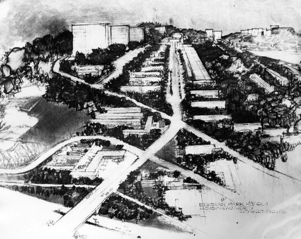 Artist's rendering of Elysian Park Heights, the low-income housing development slated to replace the community Chavez Ravine. Courtesy of the Herald-Examiner Collection, Los Angeles Public Library.