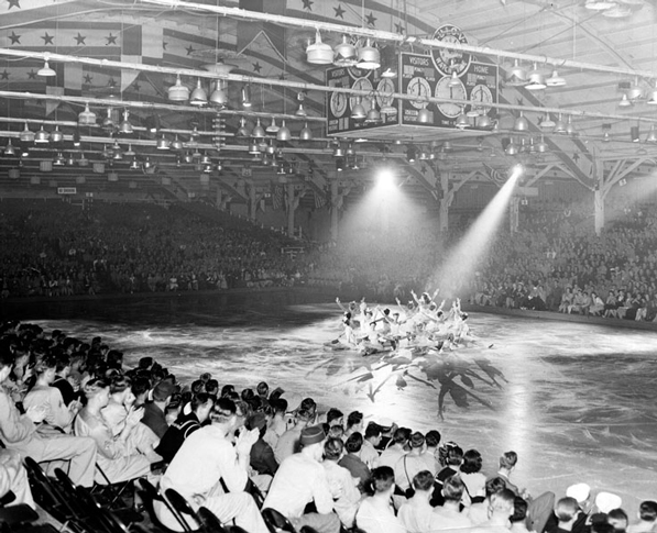An ice skating event inside the Pan-Pacific Auditorium. Courtesy of the Security Pacific National Bank Collection, Los Angeles Public Library.