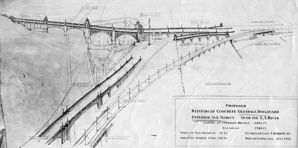 1927 artist's drawing of the Glendale-Hyperion Bridge. Courtesy of the Herald-Examiner Collection, Los Angeles Public Library.
