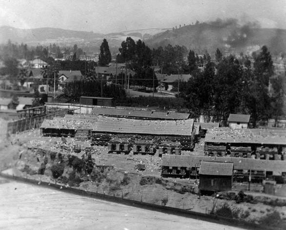 A view of the pigeon ranch from Elysian Park. Courtesy of the Photo Collection, Los Angeles Public Library.