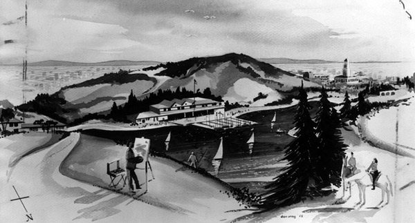 Artist's rendering of Chavez Ravine Lake, an alternative proposal advanced in 1958 for the site in case legal challenges against Dodger Stadium prevailed. Courtesy of the Herald-Examiner Collection, Los Angeles Public Library.