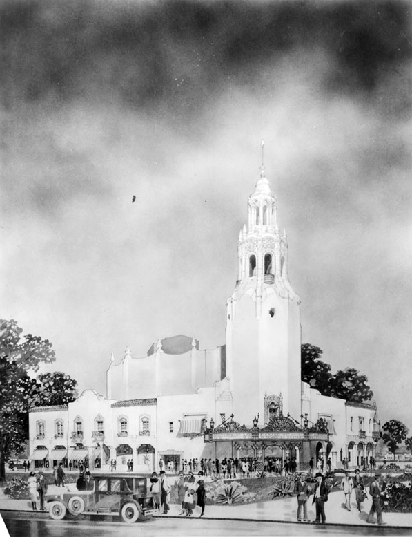 Artist's conception of the original Carthay Circle Theater. Courtesy of the Herald-Examiner Collection, Los Angeles Public Library.