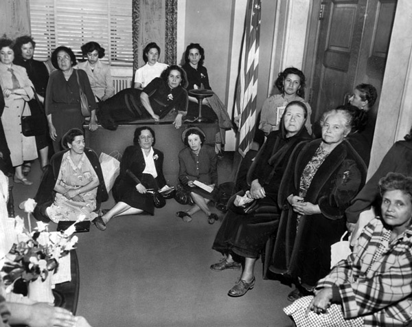 Chavez Ravine homeowners stage a sit-in outside Mayor Fletcher Bowron's office in 1951. Courtesy of the Herald-Examiner Collection, Los Angeles Public Library.
