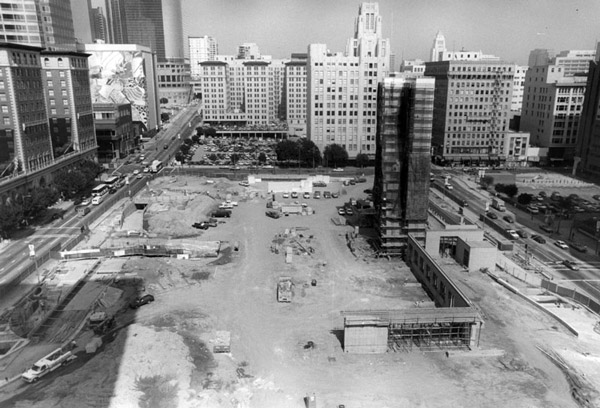 Construction of Pershing Square's current iteration in 1993. Courtesy of the Photo Collection, Los Angeles Public Library.