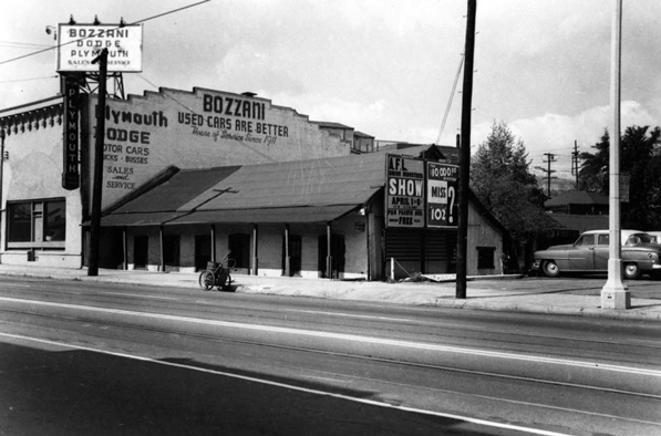 The Santa Cruz-Champan adobe at 639 N. Broadway, seen here in 1955, was one of the last remnants of Sonoratown. Courtesy of the Los Angeles Public Library Photograph Collection.