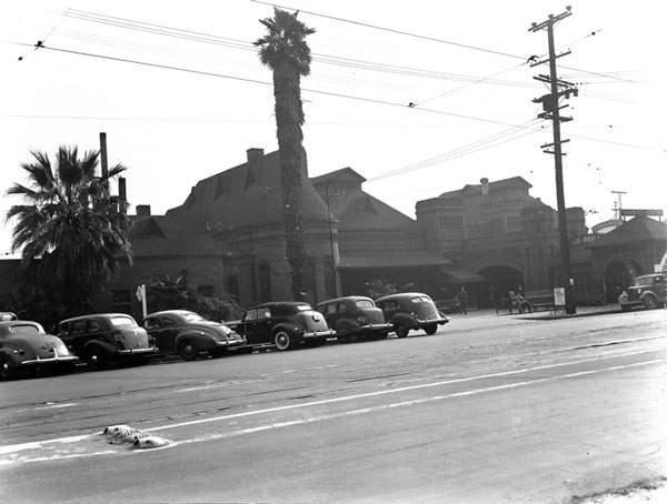 Damaged beyond repair by the 1933 Long Beach quake, the station's Moorish dome was removed. Circa 1937 photo courtesy of the Photo Collection, Los Angeles Public Library.