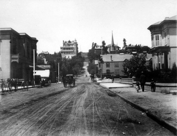 Circa 1890 view looking west down Third Street at Bunker Hill.