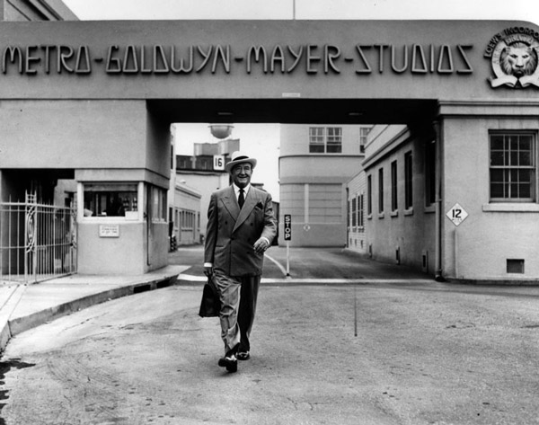 Actor Francis X. Bushman leaves the east gate of the MGM Studios in 1954. Courtesy of the Photo Collection, Los Angeles Public Library.
