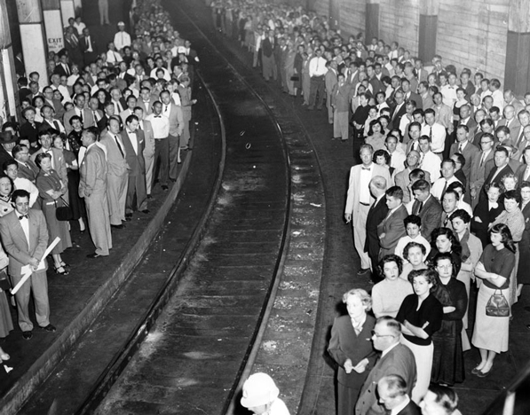 Angelenos practice an air raid drill in the former Pacific Electric subway in 1958. Courtesy of the Los Angeles Public Library Photograph Collection.
