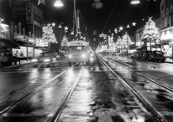 Circa 1948 view of Hollywood Boulevard decorated as Santa Claus Lane. Courtesy of the Photo Collection, Los Angeles Public Library.