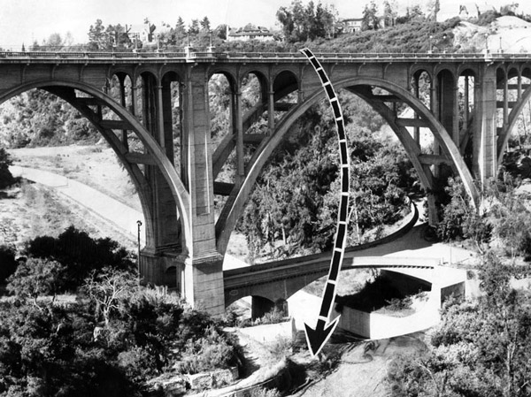 The Herald-Examiner superimposed an arrow showing the path one man took to his death on Mothers Day, 1953. Courtesy of the Herald-Examiner Collection, Los Angeles Public Library.