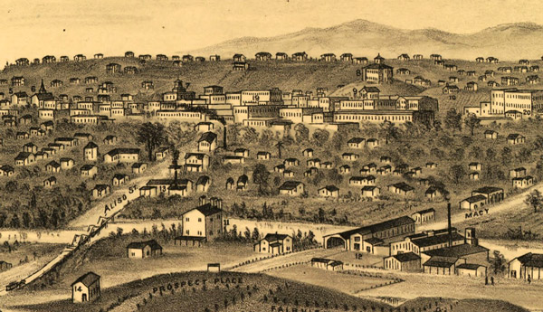 Detail of an 1877 drawing by E.S. Glover of Los Angeles, showing the city's first bridge on the right and the later Aliso Street bridge on the left. The view looks west toward downtown Los Angeles from Boyle Heights. Courtesy of the Big Map Blog.