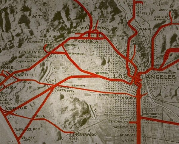 Harry Culver located Culver City in between Los Angeles and Venice, at the junction of three Pacific Electric interurban lines. 1920 map courtesy of the Big Map Blog.
