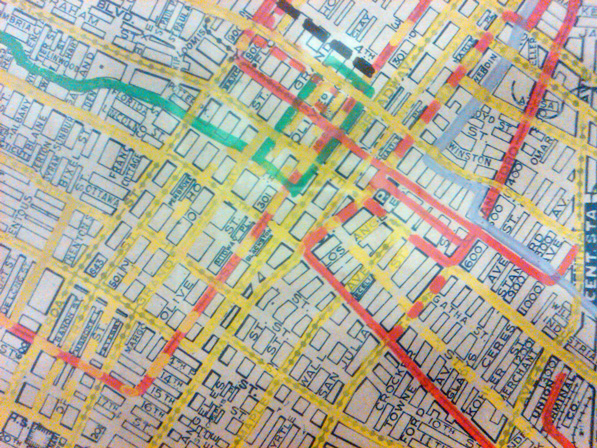 Detail of a street and railway map of Los Angeles, circa 1928. Courtesy of Metro Transportation Library and Archive.