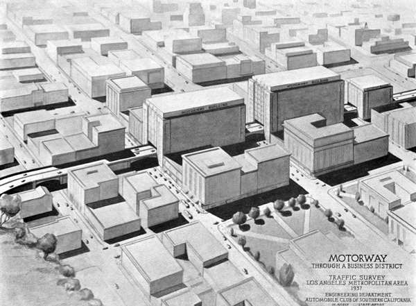 Artist's rendering of a motorway through a business district, showing a proposal for special-purpose motorway buildings. From the Automobile Club of Southern California's Traffic Survey, 1937. Courtesy of the Metro Transportation Library and Archive.