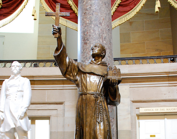 Statue of Junipero Serra in the U.S. Capitol's Statuary Hall. Photo by Flickr user afagen. Used under a Creative Commons license.