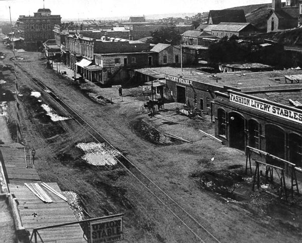 Circa 1875 view of Main Street, showing the tracks of the Main Street and Agricultural Park Street Railroad. Courtesy of the Metro Transportation Library and Archive.